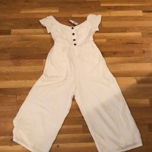 Off the should American Eagle white jumpsuit